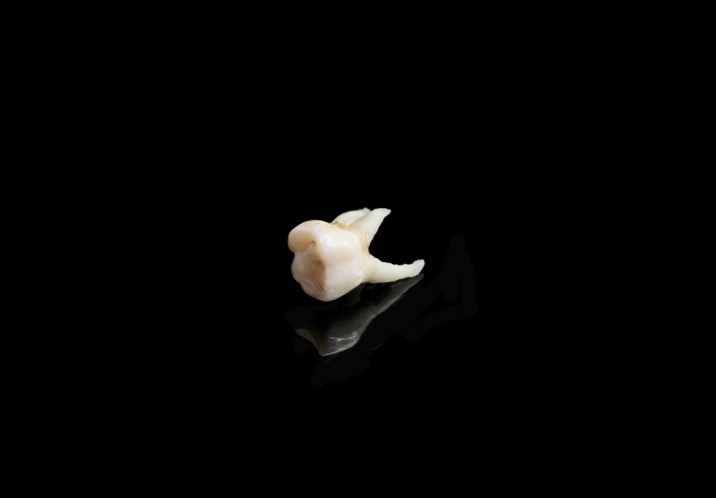 White Tooth on a black background